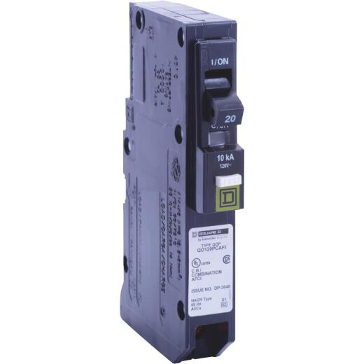 Square D QO 20A Single-Pole CAFCI Mini Dual Function Circuit Breaker