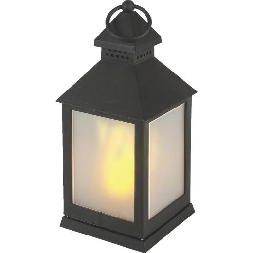 Everlasting Glow 4.13 In W. x 9.25 In. H. x 4.13 In. L. Black Square Patio Lantern